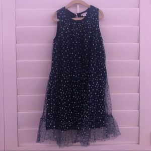 Navy Kid Dress With Silver Holo Stars By CrewCuts